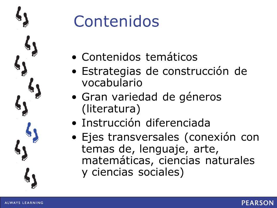 Contenidos Contenidos temáticos Estrategias de construcción de vocabulario Gran variedad de géneros (literatura) Instrucción diferenciada Ejes transve