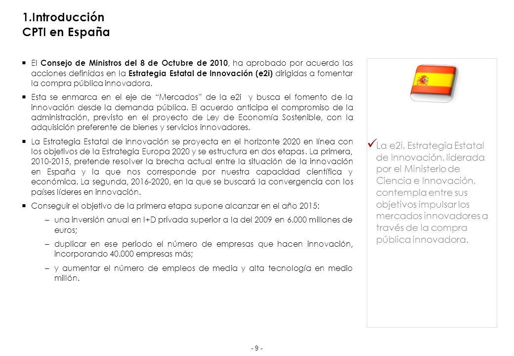 1.Introducción CPTI en España El Consejo de Ministros del 8 de Octubre de 2010, ha aprobado por acuerdo las acciones definidas en la Estrategia Estatal de Innovación (e2i) dirigidas a fomentar la compra pública innovadora.