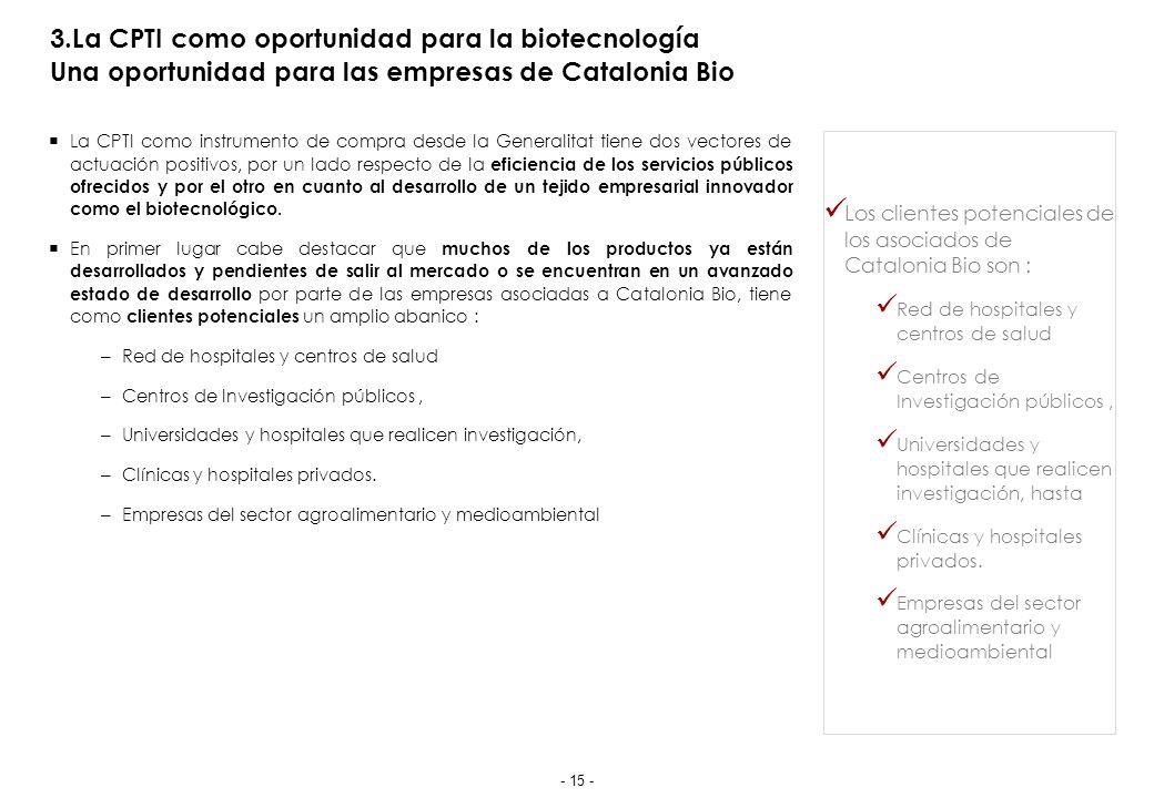 3.La CPTI como oportunidad para la biotecnología Una oportunidad para las empresas de Catalonia Bio La CPTI como instrumento de compra desde la Generalitat tiene dos vectores de actuación positivos, por un lado respecto de la eficiencia de los servicios públicos ofrecidos y por el otro en cuanto al desarrollo de un tejido empresarial innovador como el biotecnológico.