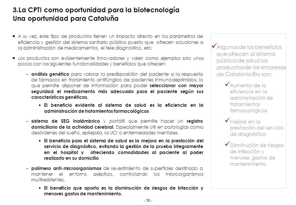 3.La CPTI como oportunidad para la biotecnología Una oportunidad para Cataluña A su vez, este tipo de productos tienen un impacto directo en los parámetros de eficiencia y gestión del sistema sanitario público puesto que ofrecen soluciones a la administración de medicamentos, el tele diagnóstico, etc.