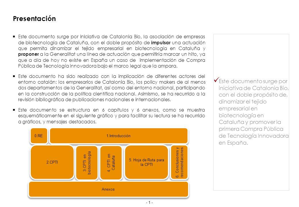 Presentación Este documento surge por iniciativa de Catalonia Bio, la asociación de empresas de biotecnología de Cataluña, con el doble propósito de impulsar una actuación que permita dinamizar el tejido empresarial en biotecnología en Cataluña y proponer a la Generalitat una línea de actuación que permitiría marcar un hito, ya que a día de hoy no existe en España un caso de implementación de Compra Pública de Tecnología Innovadora bajo el marco legal que la ampara.