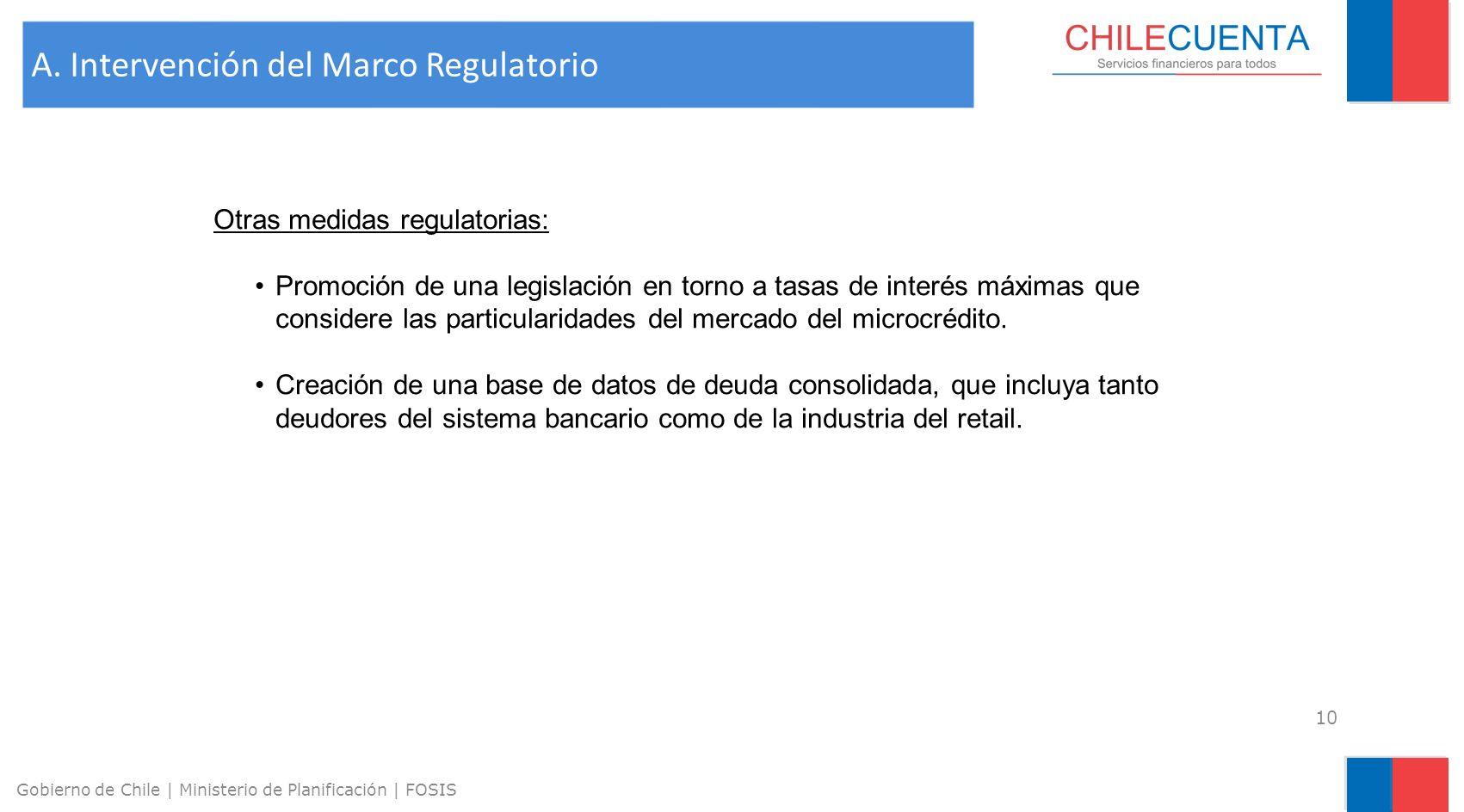 11 Gobierno de Chile | Ministerio de Planificación | FOSIS Subsidio a los costos de operación de instituciones de microfinanzas (US$ 54 / operación de crédito) Fondo de garantía para créditos otorgados a emprendedores vulnerables.
