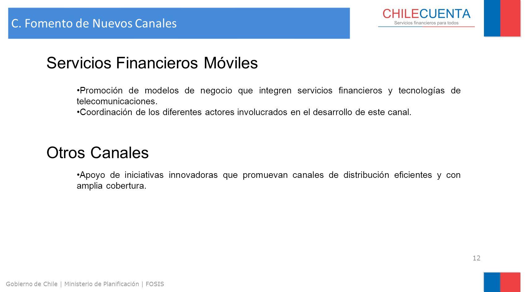 13 Gobierno de Chile | Ministerio de Planificación | FOSIS Inclusión de contenidos de educación financiera en los currículos de educación primaria y secundaria.
