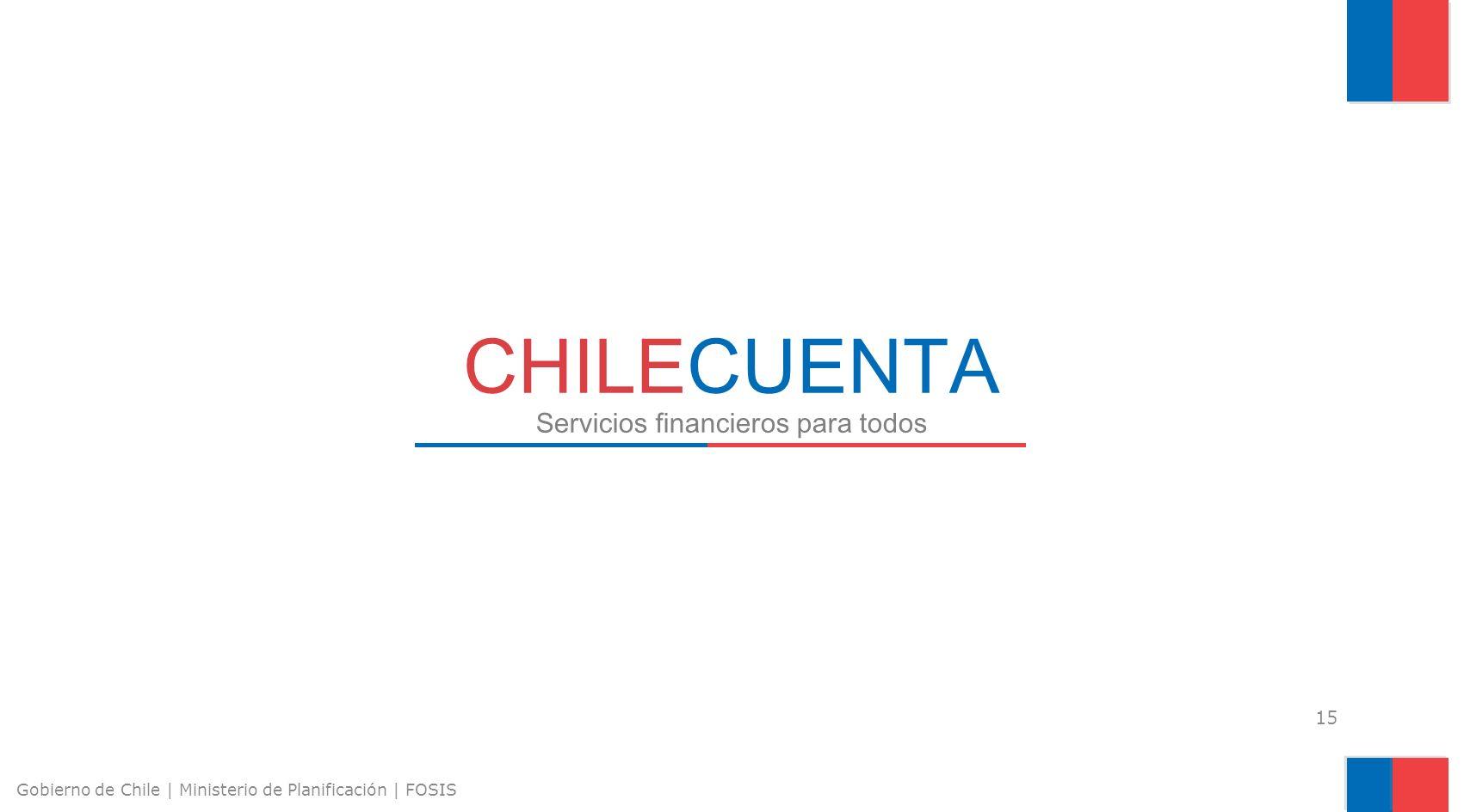 15 Gobierno de Chile | Ministerio de Planificación | FOSIS CHILECUENTA Servicios financieros para todos
