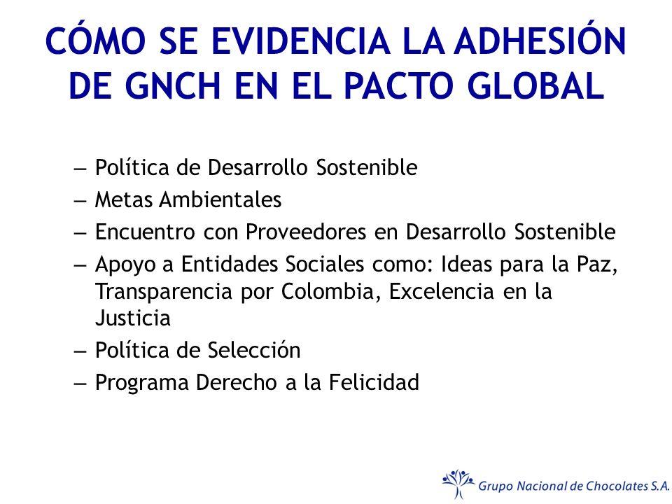 CÓMO SE EVIDENCIA LA ADHESIÓN DE GNCH EN EL PACTO GLOBAL – Política de Desarrollo Sostenible – Metas Ambientales – Encuentro con Proveedores en Desarrollo Sostenible – Apoyo a Entidades Sociales como: Ideas para la Paz, Transparencia por Colombia, Excelencia en la Justicia – Política de Selección – Programa Derecho a la Felicidad