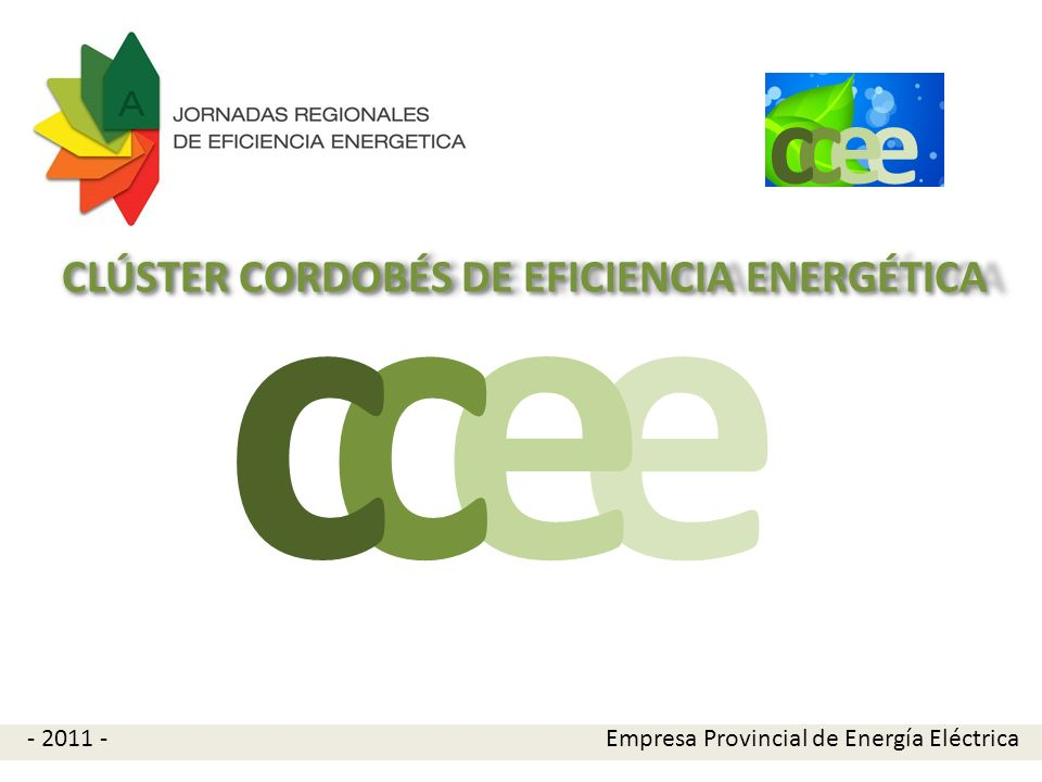 e e cc Propuesta Conformar un Clúster sobre la temática Eficiencia Energética (CCEE) como grupo de trabajo abierto a la participación de entidades relacionadas con el sector de la eficiencia energética.