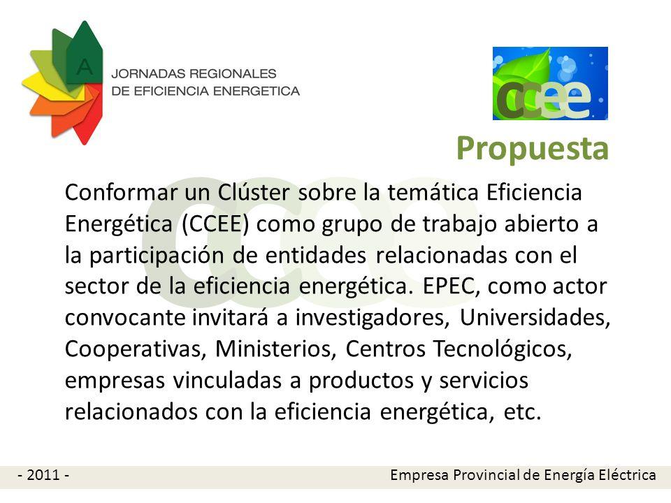 e e cc Propuesta Conformar un Clúster sobre la temática Eficiencia Energética (CCEE) como grupo de trabajo abierto a la participación de entidades rel