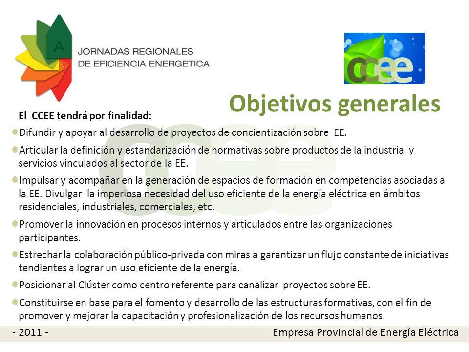 e e cc Objetivos específicos El Clúster nace para coordinar iniciativas propias y externas de manera colaborativa tendientes a lograr un uso eficiente de la energía eléctrica mediante la difusión de proyectos de investigación, desarrollos e implementación de propuestas de eficiencia energética actuando como potenciador de acciones conjuntas.