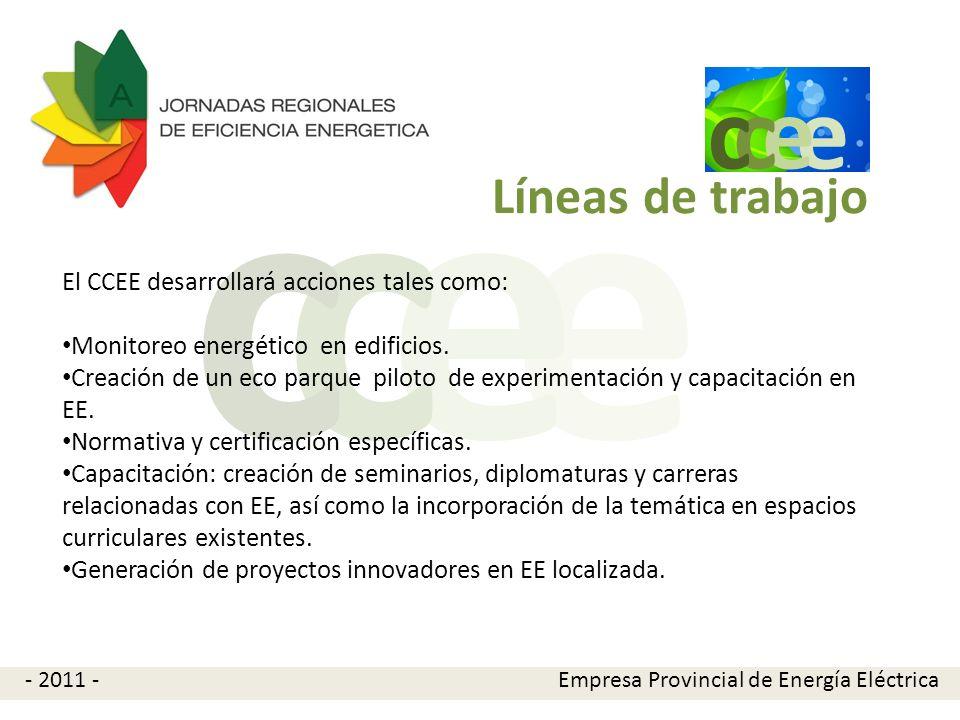 e e cc El CCEE invita a los interesados en participar a ponerse en contacto a través de las siguientes opciones: -Tel.: 54-351-4296828 - Mail: ccee@epec.com.arccee@epec.com.ar - web: http://ccee.epec.com.arhttp://ccee.epec.com.ar Contacto e e cc Empresa Provincial de Energía Eléctrica- 2011 -