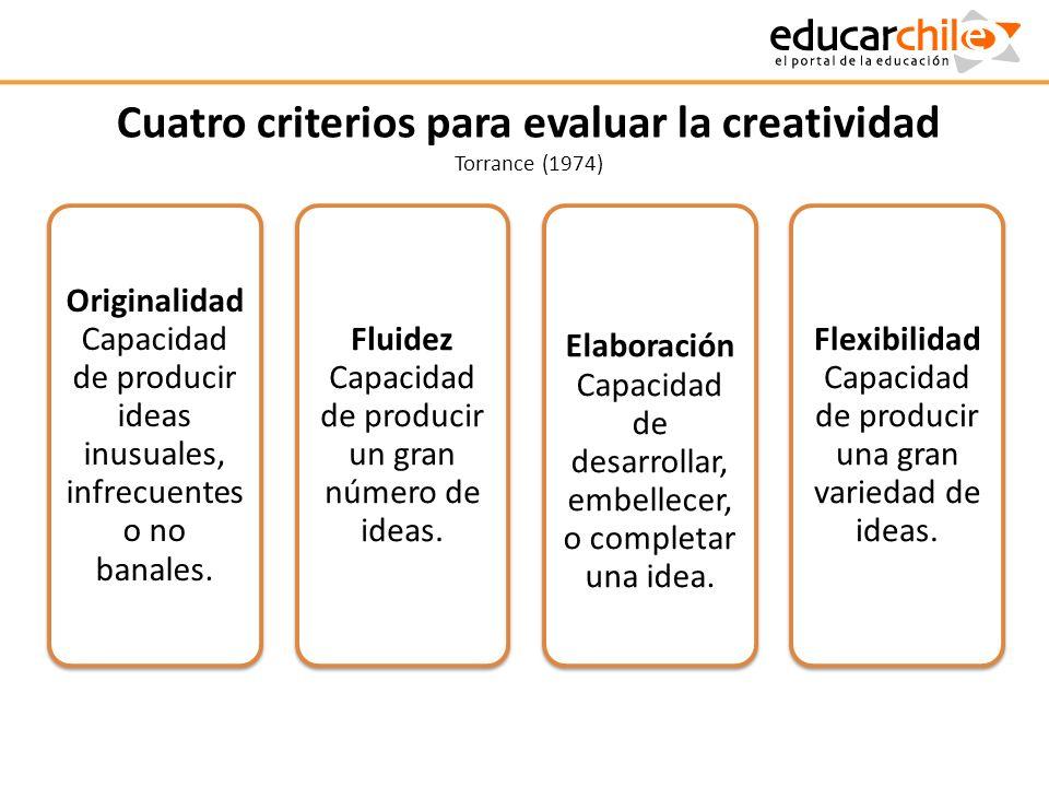 Cuatro criterios para evaluar la creatividad Torrance (1974) Originalidad Capacidad de producir ideas inusuales, infrecuentes o no banales. Fluidez Ca