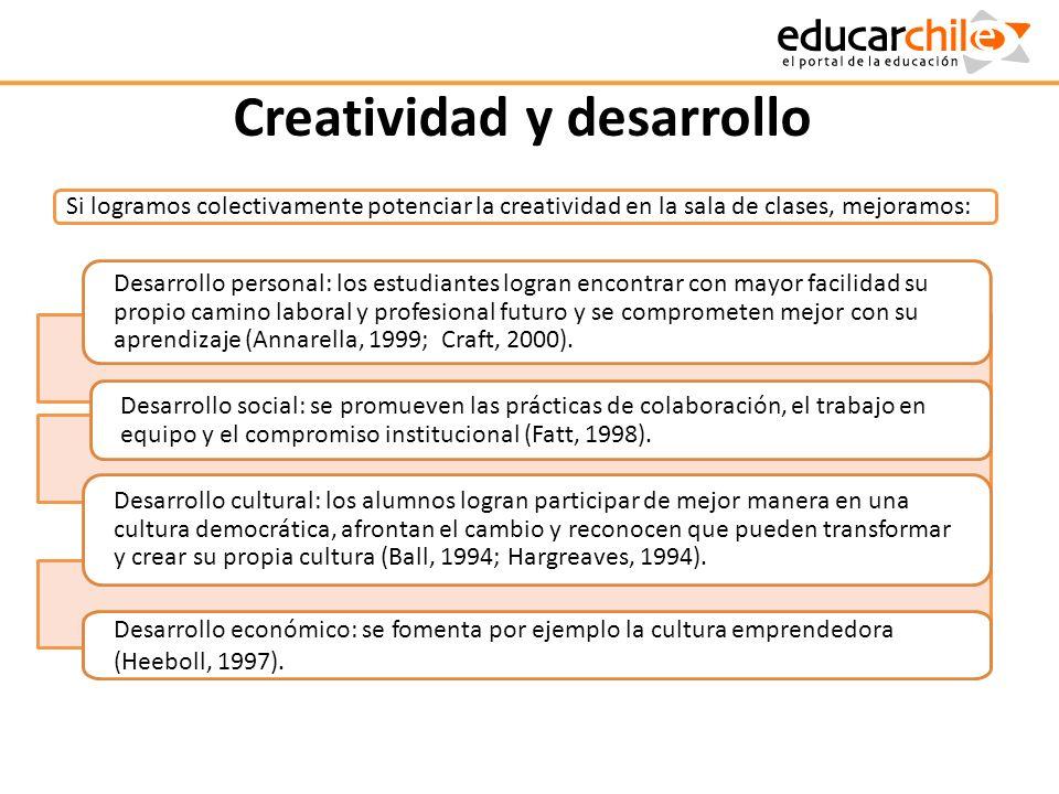 Creatividad y desarrollo Desarrollo personal: los estudiantes logran encontrar con mayor facilidad su propio camino laboral y profesional futuro y se