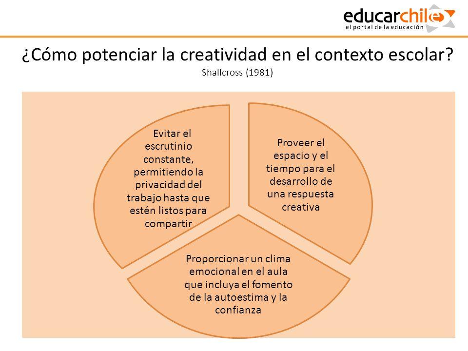 ¿Cómo potenciar la creatividad en el contexto escolar? Shallcross (1981) Proveer el espacio y el tiempo para el desarrollo de una respuesta creativa P
