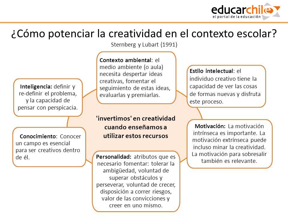 ¿Cómo potenciar la creatividad en el contexto escolar? Sternberg y Lubart (1991) Conocimiento: Conocer un campo es esencial para ser creativos dentro
