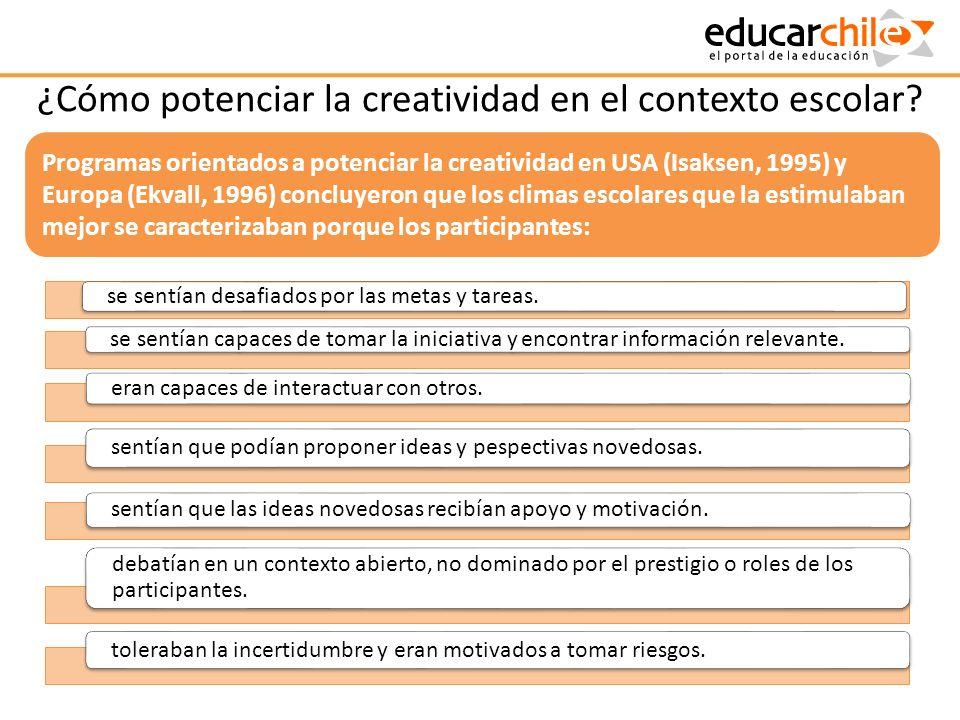 ¿Cómo potenciar la creatividad en el contexto escolar? se sentían desafiados por las metas y tareas. se sentían capaces de tomar la iniciativa y encon