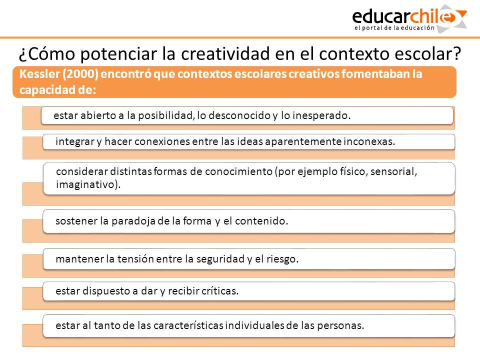 ¿Cómo potenciar la creatividad en el contexto escolar? estar abierto a la posibilidad, lo desconocido y lo inesperado. integrar y hacer conexiones ent