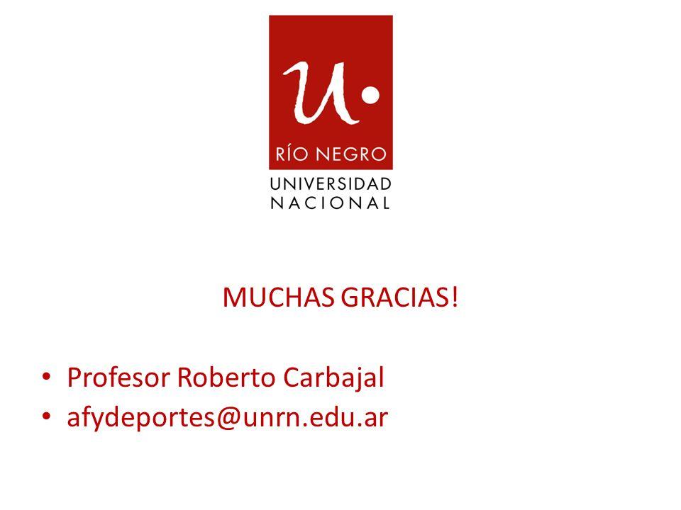 MUCHAS GRACIAS! Profesor Roberto Carbajal afydeportes@unrn.edu.ar