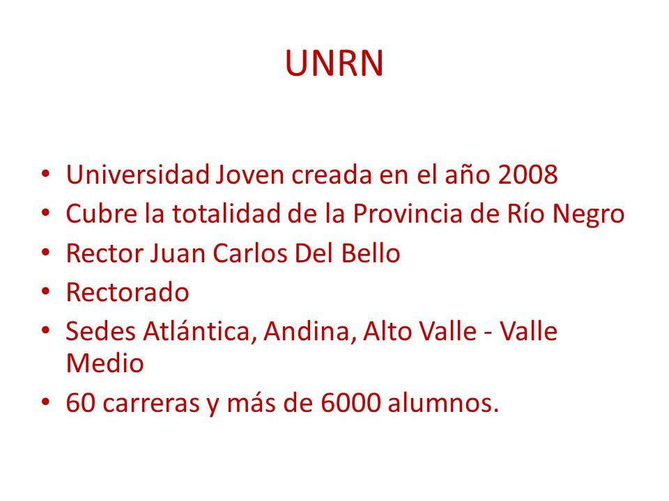 UNRN Universidad Joven creada en el año 2008 Cubre la totalidad de la Provincia de Río Negro Rector Juan Carlos Del Bello Rectorado Sedes Atlántica, Andina, Alto Valle - Valle Medio 60 carreras y más de 6000 alumnos.