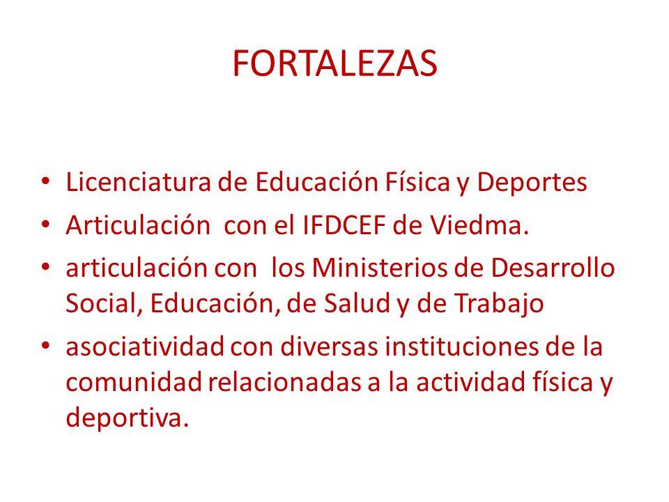 FORTALEZAS Licenciatura de Educación Física y Deportes Articulación con el IFDCEF de Viedma.