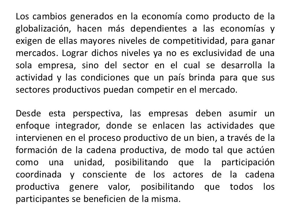 Los cambios generados en la economía como producto de la globalización, hacen más dependientes a las economías y exigen de ellas mayores niveles de competitividad, para ganar mercados.