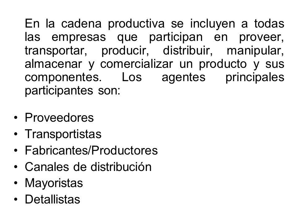 En la cadena productiva se incluyen a todas las empresas que participan en proveer, transportar, producir, distribuir, manipular, almacenar y comercializar un producto y sus componentes.