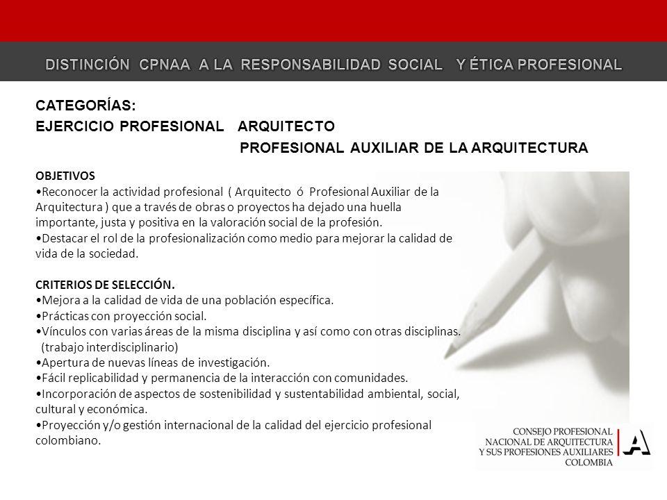 CATEGORÍA EJERCICIO PROFESIONAL -- ARQUITECTO EJERCICIO PROFESIONAL ARQUITECTO OBJETIVOS Reconocer la actividad profesional ( Arquitecto ó Profesional Auxiliar de la Arquitectura ) que a través de obras o proyectos ha dejado una huella importante, justa y positiva en la valoración social de la profesión.