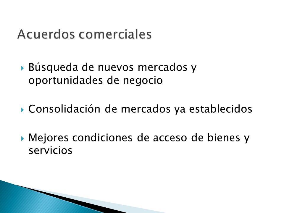 Búsqueda de nuevos mercados y oportunidades de negocio Consolidación de mercados ya establecidos Mejores condiciones de acceso de bienes y servicios