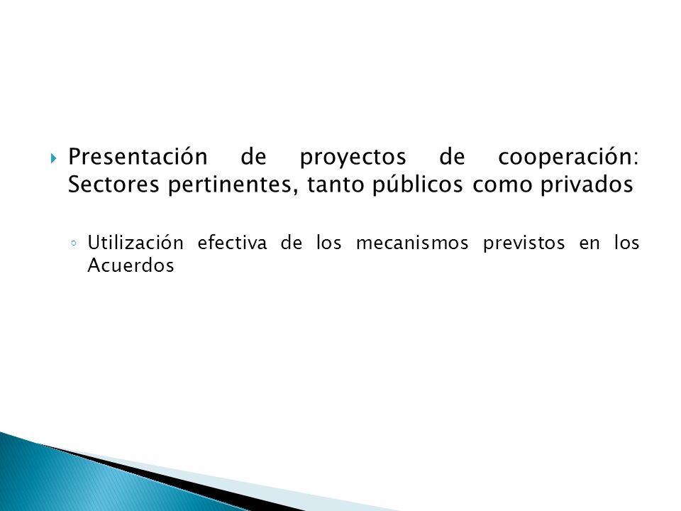 Presentación de proyectos de cooperación: Sectores pertinentes, tanto públicos como privados Utilización efectiva de los mecanismos previstos en los Acuerdos