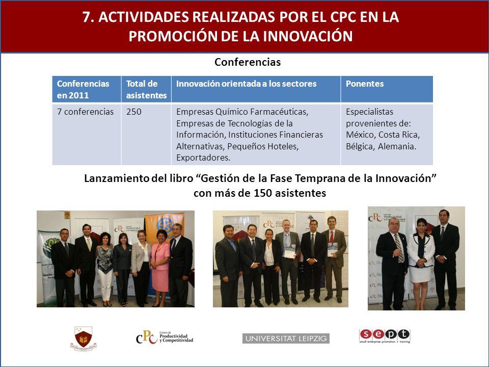 7. ACTIVIDADES REALIZADAS POR EL CPC EN LA PROMOCIÓN DE LA INNOVACIÓN Lanzamiento del libro Gestión de la Fase Temprana de la Innovación con más de 15