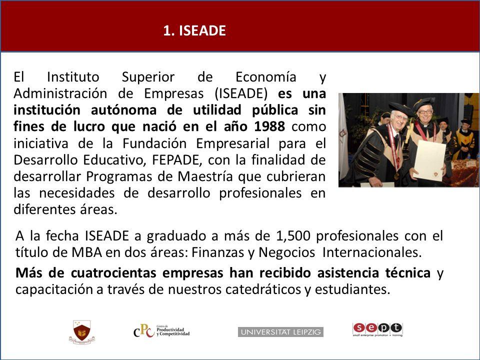 1. ISEADE El Instituto Superior de Economía y Administración de Empresas (ISEADE) es una institución autónoma de utilidad pública sin fines de lucro q