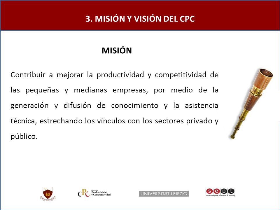 Contribuir a mejorar la productividad y competitividad de las pequeñas y medianas empresas, por medio de la generación y difusión de conocimiento y la asistencia técnica, estrechando los vínculos con los sectores privado y público.