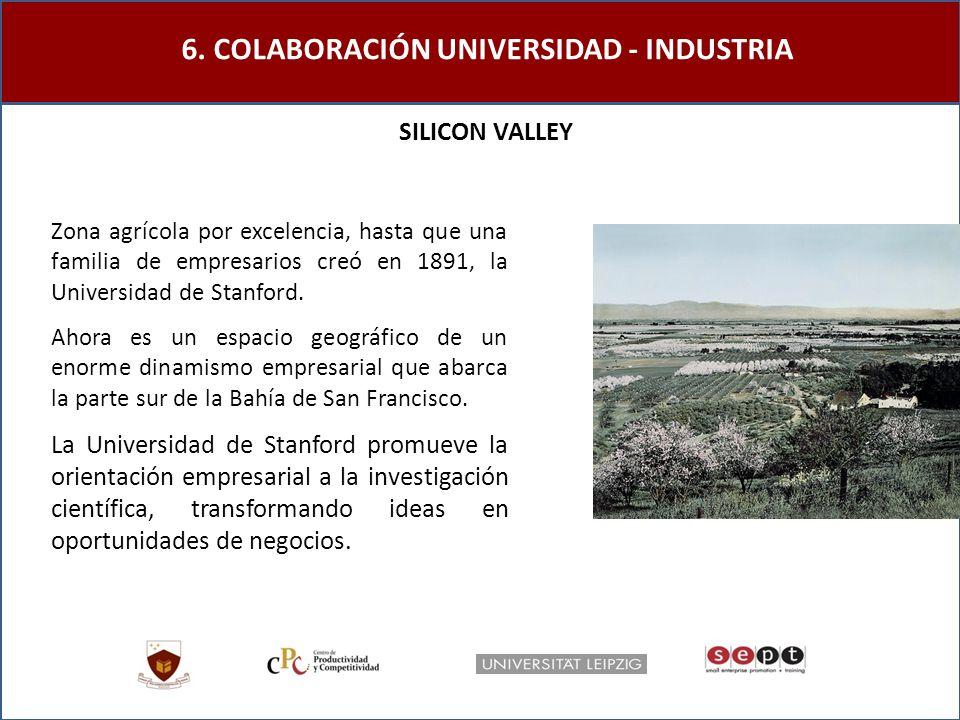 6. COLABORACIÓN UNIVERSIDAD - INDUSTRIA SILICON VALLEY Ahora es un espacio geográfico de un enorme dinamismo empresarial que abarca la parte sur de la