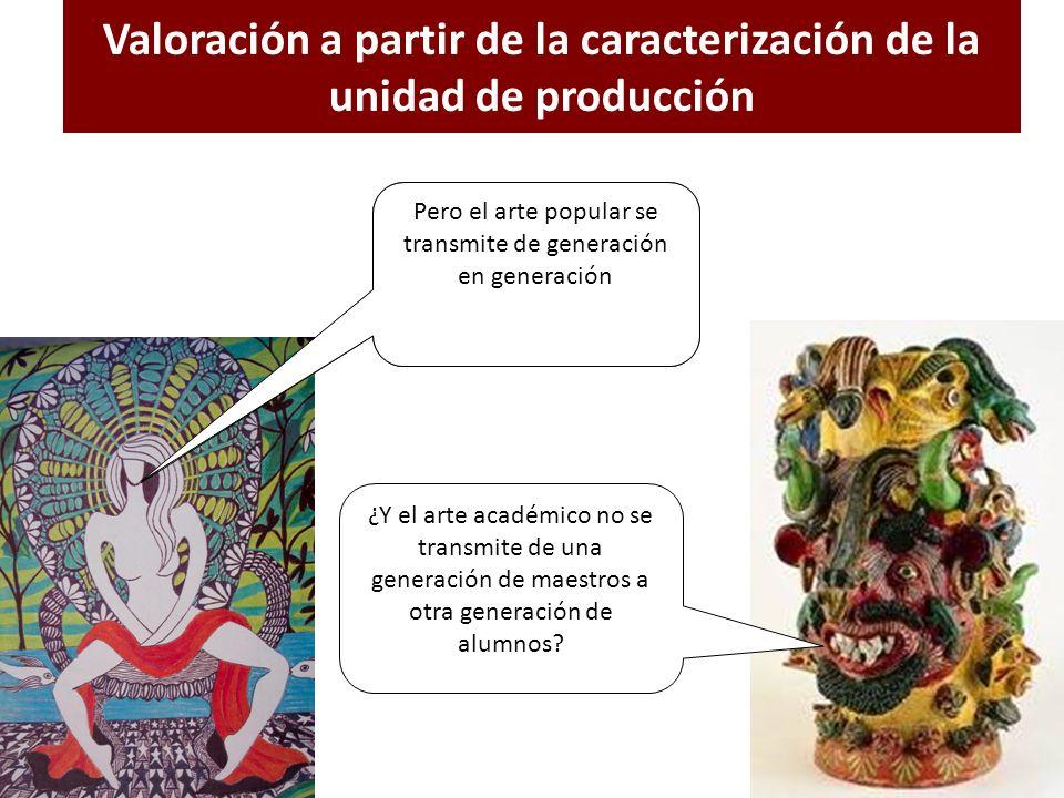 Valoración a partir de la caracterización de la unidad de producción El arte se aprende en una institución donde se enseñan métodos, técnicas y concep