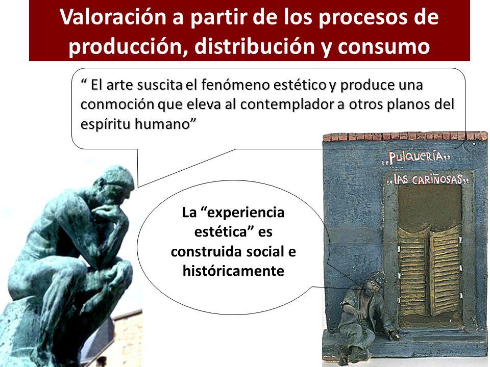 Valoración a partir de los procesos de producción, distribución y consumo El arte suscita el fenómeno estético y produce una conmoción que eleva al co