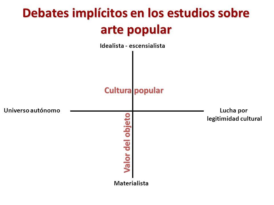 Debates implícitos en los estudios sobre arte popular Cultura popular Universo autónomoLucha por legitimidad cultural Idealista - escensialista Materi