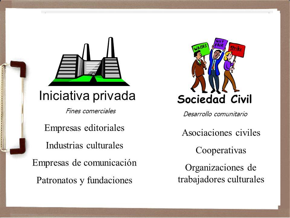 Iniciativa privada Fines comerciales Empresas editoriales Industrias culturales Empresas de comunicación Patronatos y fundaciones Sociedad Civil Desarrollo comunitario Asociaciones civiles Cooperativas Organizaciones de trabajadores culturales