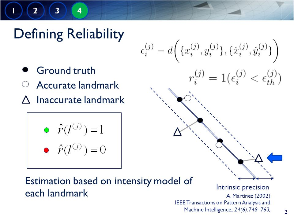 Defining Reliability Ground truth Accurate landmark Inaccurate landmark Estimation based on intensity model of each landmark Intrinsic precision 1 2 3 4 2 A.