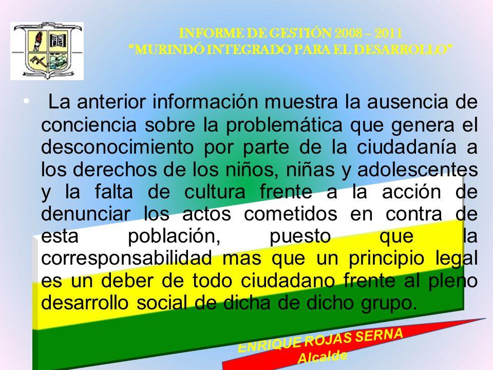 INFORME DE GESTIÓN 2008 – 2011 MURINDÓ INTEGRADO PARA EL DESARROLLO ENRIQUE ROJAS SERNA Alcalde La anterior información muestra la ausencia de concien