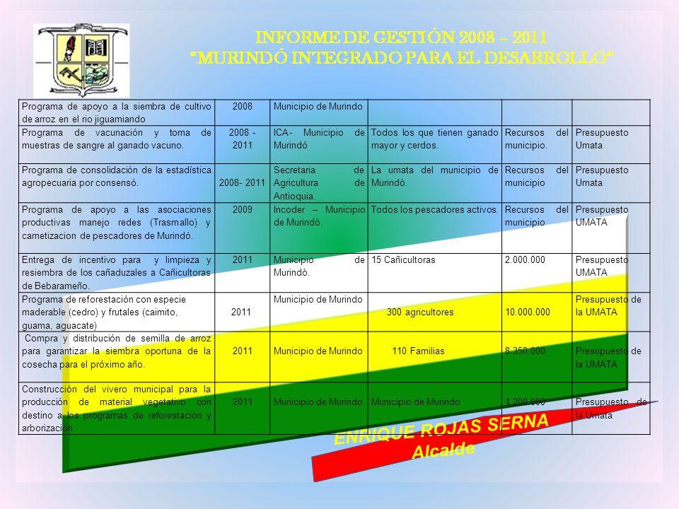 Programa de apoyo a la siembra de cultivo de arroz en el rio jiguamiando 2008Municipio de Murindo Programa de vacunación y toma de muestras de sangre