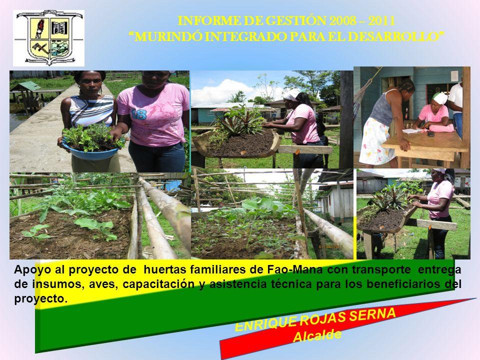INFORME DE GESTIÓN 2008 – 2011 MURINDÓ INTEGRADO PARA EL DESARROLLO ENRIQUE ROJAS SERNA Alcalde Apoyo al proyecto de huertas familiares de Fao-Mana co