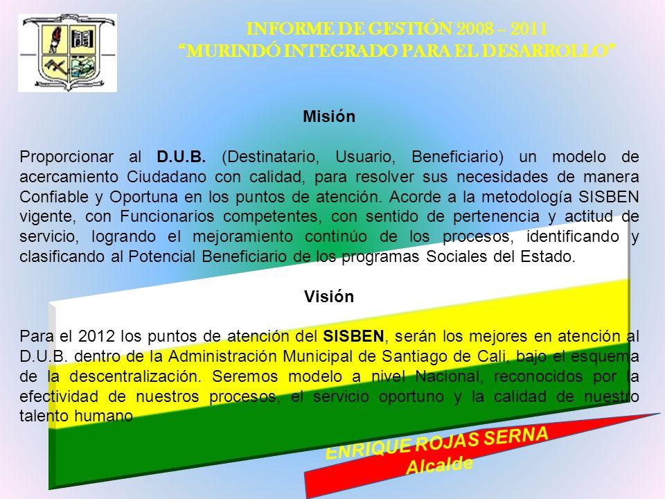 INFORME DE GESTIÓN 2008 – 2011 MURINDÓ INTEGRADO PARA EL DESARROLLO ENRIQUE ROJAS SERNA Alcalde Misión Proporcionar al D.U.B. (Destinatario, Usuario,