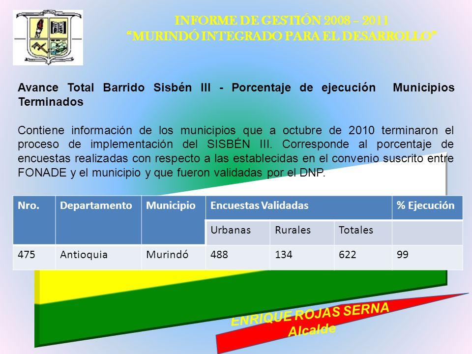 INFORME DE GESTIÓN 2008 – 2011 MURINDÓ INTEGRADO PARA EL DESARROLLO ENRIQUE ROJAS SERNA Alcalde Avance Total Barrido Sisbén III - Porcentaje de ejecuc