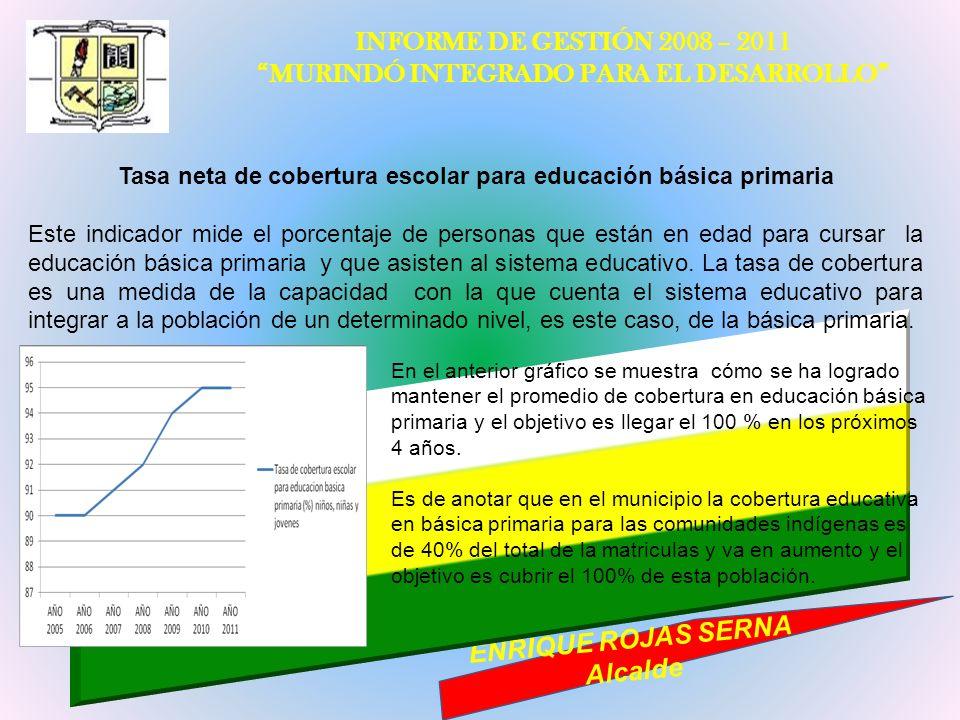INFORME DE GESTIÓN 2008 – 2011 MURINDÓ INTEGRADO PARA EL DESARROLLO ENRIQUE ROJAS SERNA Alcalde Tasa neta de cobertura escolar para educación básica p