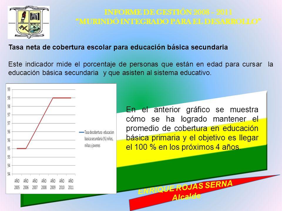 INFORME DE GESTIÓN 2008 – 2011 MURINDÓ INTEGRADO PARA EL DESARROLLO ENRIQUE ROJAS SERNA Alcalde Tasa neta de cobertura escolar para educación básica s