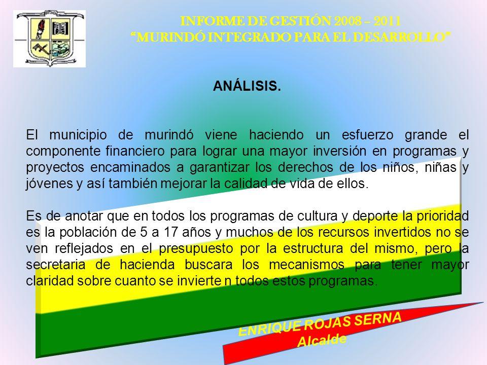 INFORME DE GESTIÓN 2008 – 2011 MURINDÓ INTEGRADO PARA EL DESARROLLO ENRIQUE ROJAS SERNA Alcalde ANÁLISIS. El municipio de murindó viene haciendo un es
