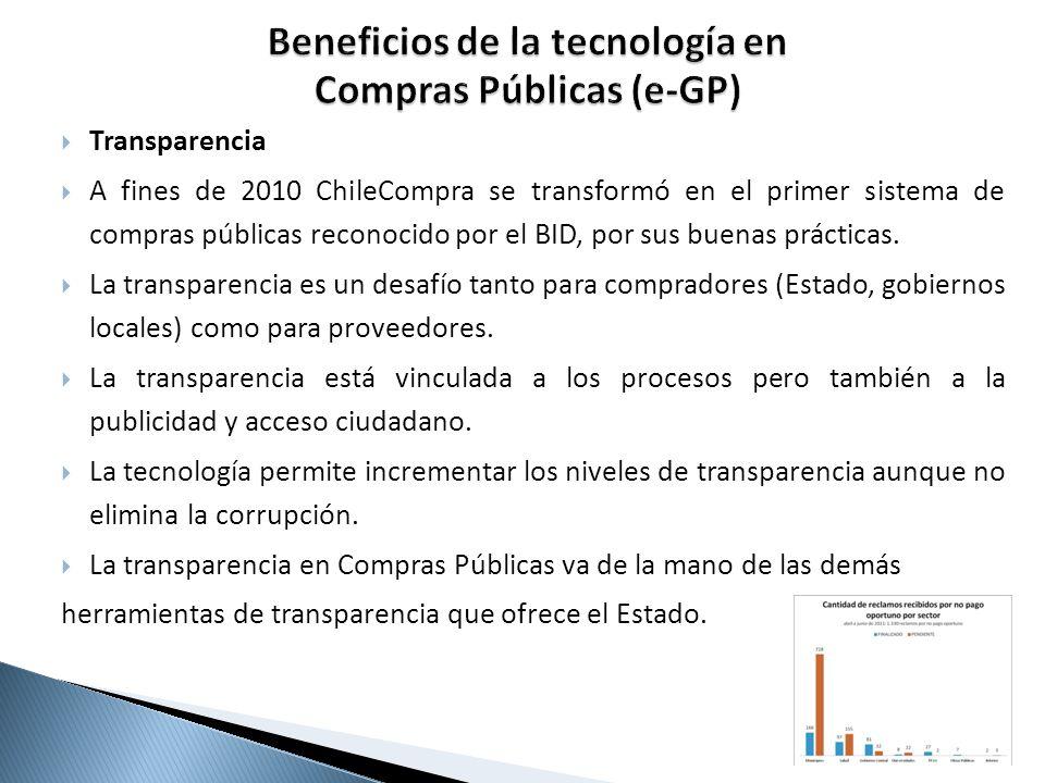 Transparencia A fines de 2010 ChileCompra se transformó en el primer sistema de compras públicas reconocido por el BID, por sus buenas prácticas. La t