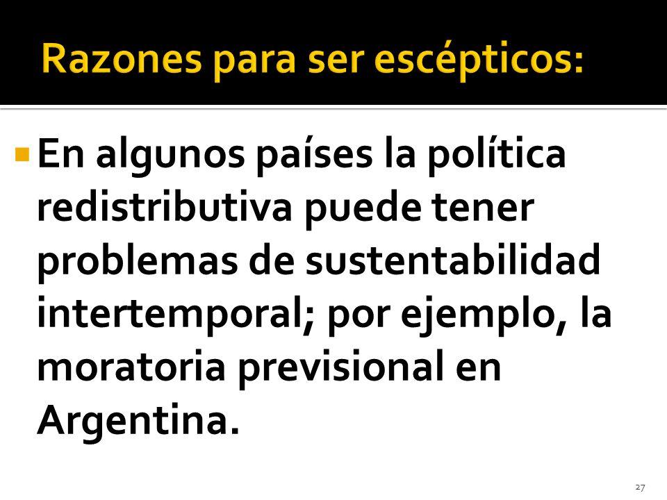 En algunos países la política redistributiva puede tener problemas de sustentabilidad intertemporal; por ejemplo, la moratoria previsional en Argentin
