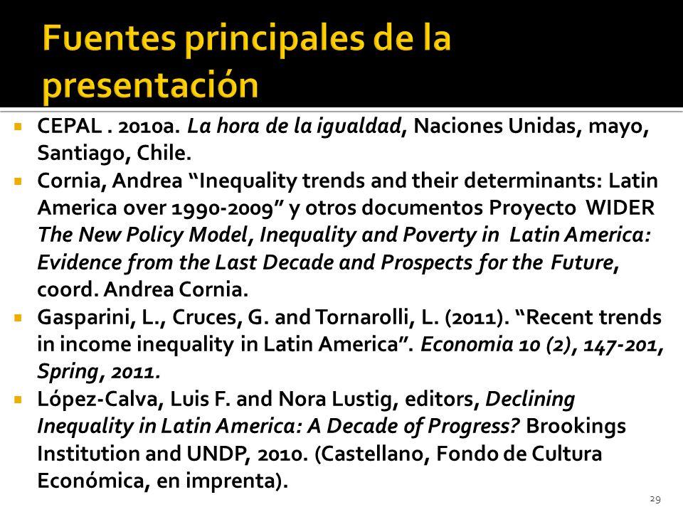 CEPAL. 2010a. La hora de la igualdad, Naciones Unidas, mayo, Santiago, Chile. Cornia, Andrea Inequality trends and their determinants: Latin America o