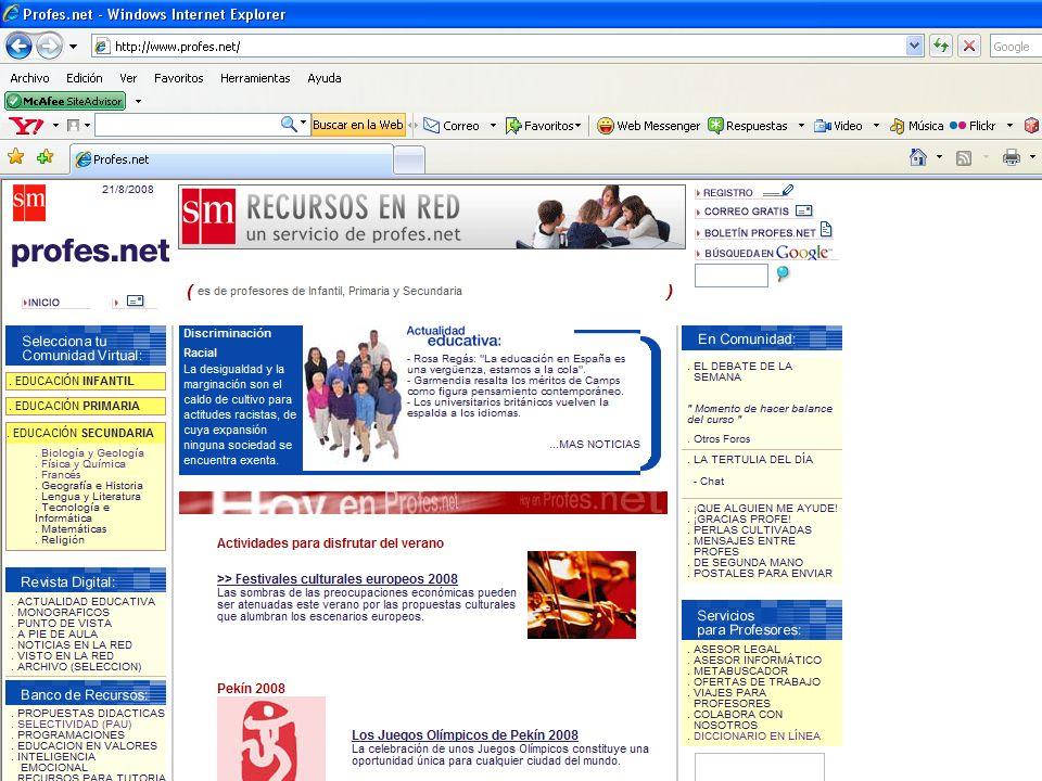 Dirección URL http://www.icarito.tercera.cl/http://www.icarito.tercera.cl/ Nombre del Sitio Web http://icarito.tercera.cl/icarito/portada/0,0,38035857_151387702,00.htmlhttp://icarito.tercera.cl/icarito/portada/0,0,38035857_151387702,00.html (idiomas disponibles) http://icarito.tercera.cl/icarito/portada/0,0,38035857_151387702,00.html Autores / Editores © Medios Digitales de COPESA; todos los derechos reservados Chile (+ e-mail, lugar, fecha) Presentación Temática Tipo enciclopedia temática, artículos, imágenes, multimedia, consulta de infinidad de temas (temática, propósito) Dirección URL http://www.Profes.net http://www.Profes.net Nombre del Sitio Web http://www.Profes.net http://www.Profes.net (idiomas disponibles) http://icarito.tercera.cl/icarito/portada/0,0,38035857_151387702,00.html Autores / Editores Resolución 800*600 © ediciones SM, 2000 © ediciones SM, 2000 (+ e-mail, lugar, fecha) Presentación Temática Tipo enciclopedia temática, artículos, imágenes, multimedia, consulta de infinidad de temas (temática, propósito)