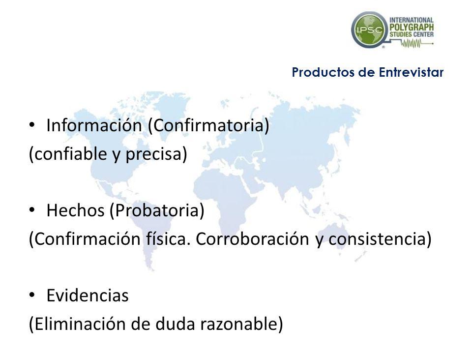 Información (Confirmatoria) (confiable y precisa) Hechos (Probatoria) (Confirmación física. Corroboración y consistencia) Evidencias (Eliminación de d
