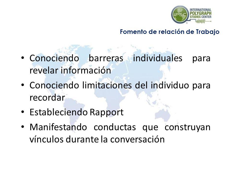 Conociendo barreras individuales para revelar información Conociendo limitaciones del individuo para recordar Estableciendo Rapport Manifestando conductas que construyan vínculos durante la conversación Fomento de relación de Trabajo